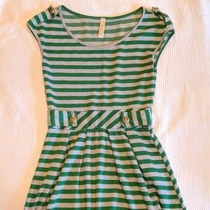 Green and gray stripe short dress